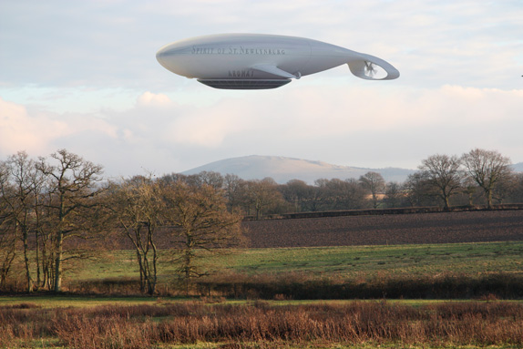 The airship's award winning shape has been designed to enhance the landscape.