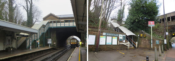 (left) Burgess Hill Station was built in 1841 and has particularly narrow platforms. Again, due to local geography, there is no space for expansion.The only access to Wivelsfield Station is by two steep flights of steps. It was built in 1896 within a steep embankment affording no room for expansion.