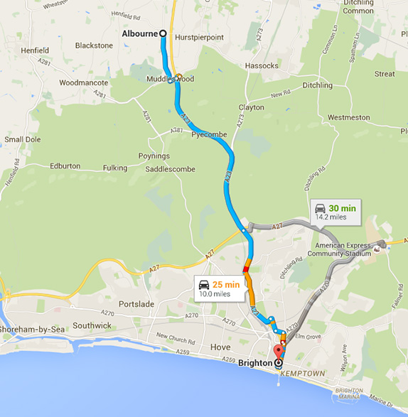 Park & Ride route to Brighton